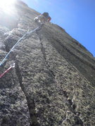 Rock Climbing Photo: Fast Eddie workin the 5.7 splitter on pitch 4!