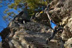Rock Climbing Photo: clipping chains after overhang