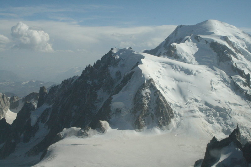 Trois Monts route: from left to right Mt Blanc du Tacul, Mt Maudit and Mt Blanc