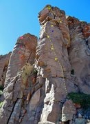 Rock Climbing Photo: WOTTM in yellow, harder (and now fully bolted) var...