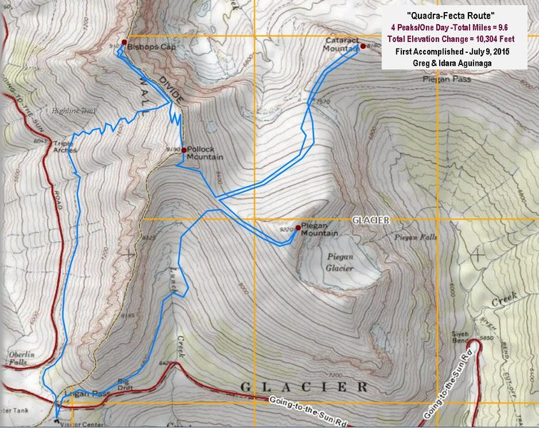 Topo Map of the Quadra-Fecta Route. Glacier National Park. Four(4) Mountains/One(1)Day: Piegan, Cataract, Pollock & Bishops Cap., 9.5 miles, 10,304 feet total elevation change.