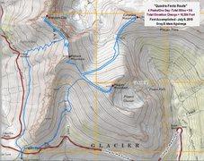 Rock Climbing Photo: Topo Map of the Quadra-Fecta Route. Glacier Nation...