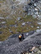 Rock Climbing Photo: Amazing 100' splitter hands on pitch 1