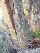 Rock Climbing Photo: Coming up pitch 2 of Shadow Play