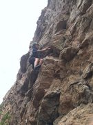 Rock Climbing Photo: Colden on his first 11.