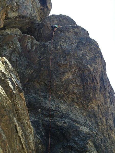 You have to 4th class climb way left up to get to anchors