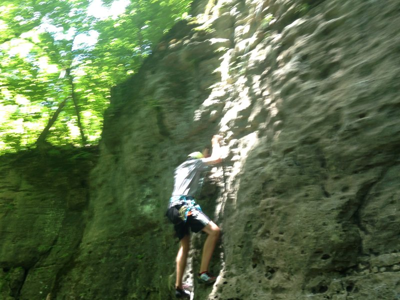 Rock Climbing Photo: Lower portion of black right route
