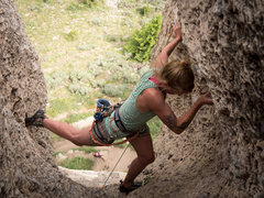 Rock Climbing Photo: Disa spinning around in the stem at the top of Bee...