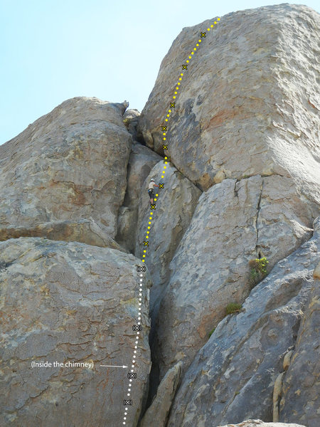 Rock Climbing Photo: The route has a very obvious start from inside the...