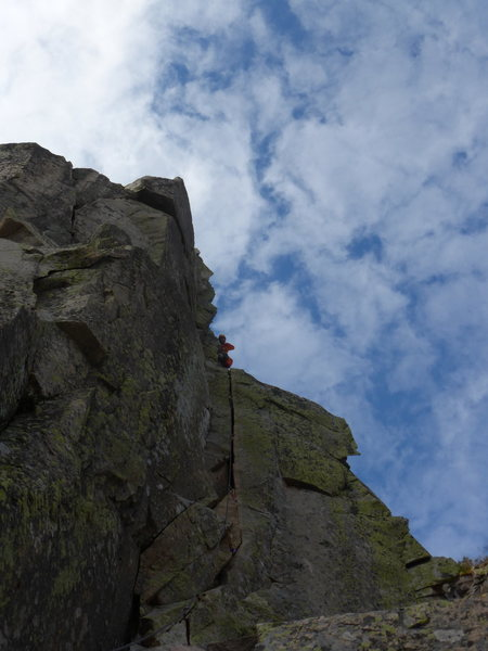 Rock Climbing Photo: Me leading the 5.8 variation to the Pipe Pitch on ...