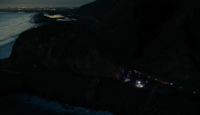Point Mugu coastal night aerial view.