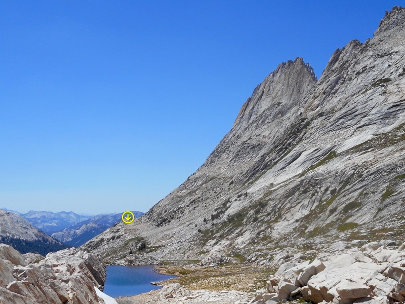 Whorl Mt., on the left, from Horse Creek Pass. Hike past the lake, along the bench, to reach the start of the route.