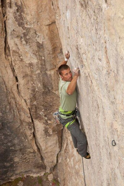 Carl battles Mephistopheles, 5.13a<br> <br> Photo by Tyler Kaschke