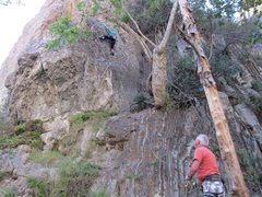 Here is Derek Stewart on the lead of Economique 5.10a with Guy Keesee on belay duties.