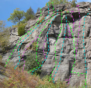 Rock Climbing Photo: routes overview Left side Tower Wall A Risky Bear ...