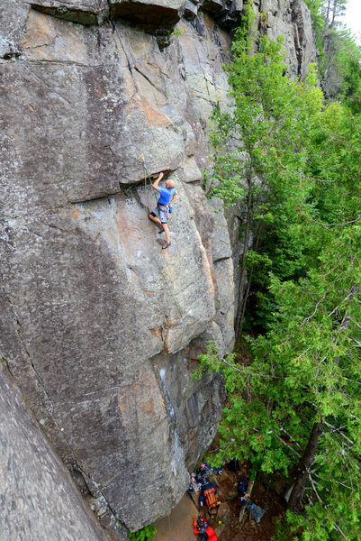 Contemplating the second crux on Crazy Horse, Deadwater.