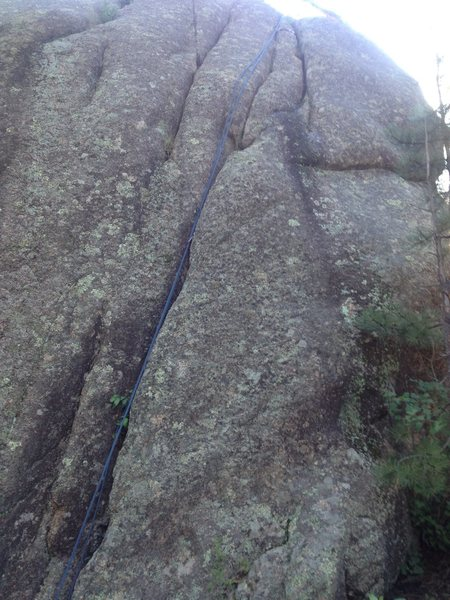 The climb with a rope on it.