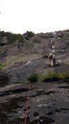 Rock Climbing Photo: MudRat leading the crux on the FA, 2015 August 1. ...