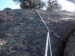 Rock Climbing Photo: The upper slab portion of the climb.