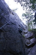 Rock Climbing Photo: The crux is after the bolt above her.   I finished...