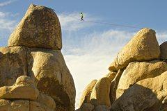 Rock Climbing Photo: David Kingston highlining in Hall of Horrors