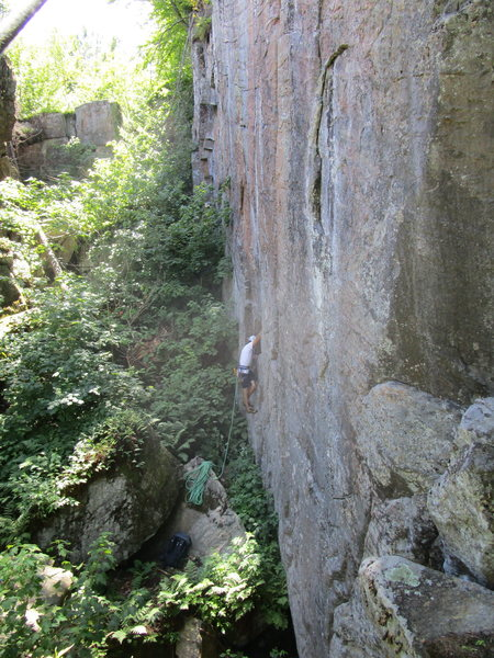 "A view of the box canyon, with three great routes: ""What the Eft,"" ""Black Lung,"" and ""Buzz Off"" all next to one another"