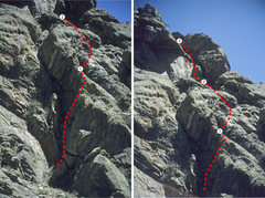 Rock Climbing Photo: Topo of Ghost Rider; the line is approximate. For ...