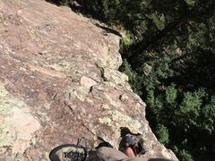 """Rock Climbing Photo: Looking down the crux """"2 moves"""". Seemed ..."""