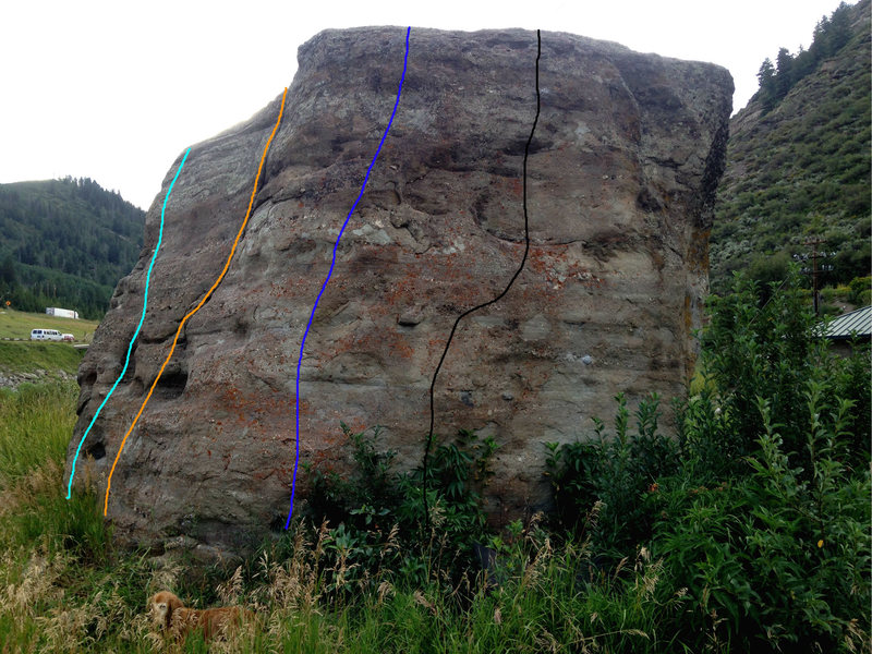 East Face: the route in black is likely Interstate Contemplate, V3, the route in dark blue is Southeast Corner, V1, the orange route is likely the 5.7 crack on the south face, and the light blue route is my downclimb on the southwest corner.