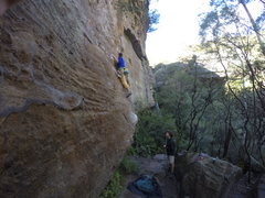 Rock Climbing Photo: going for the first bolt in the Blue mountains Aus...