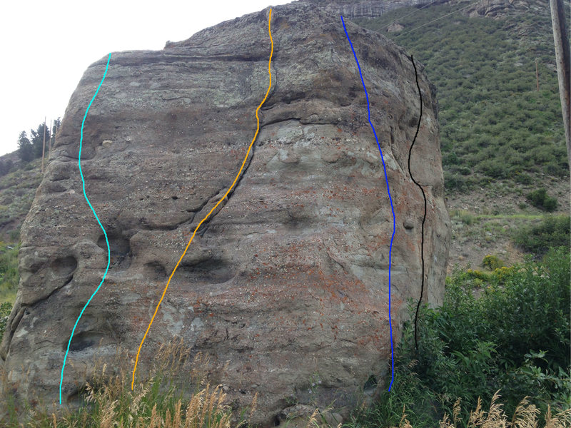 South face: the route in light blue is my downclimb on the southwest corner, the route in orange is likely the 5.7 crack, the dark blue is Southeast Corner, V1, & the black route is Interstate Contemplate, V3, on the east face.