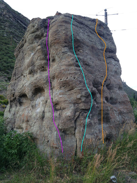 Southwest corner: the light blue is my downclimb, the orange route is likely the 5.7 crack on the south face, and the purple route is likely the 5.8 crack on the west face.