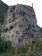 Rock Climbing Photo: Southwest corner: the light blue is my downclimb, ...
