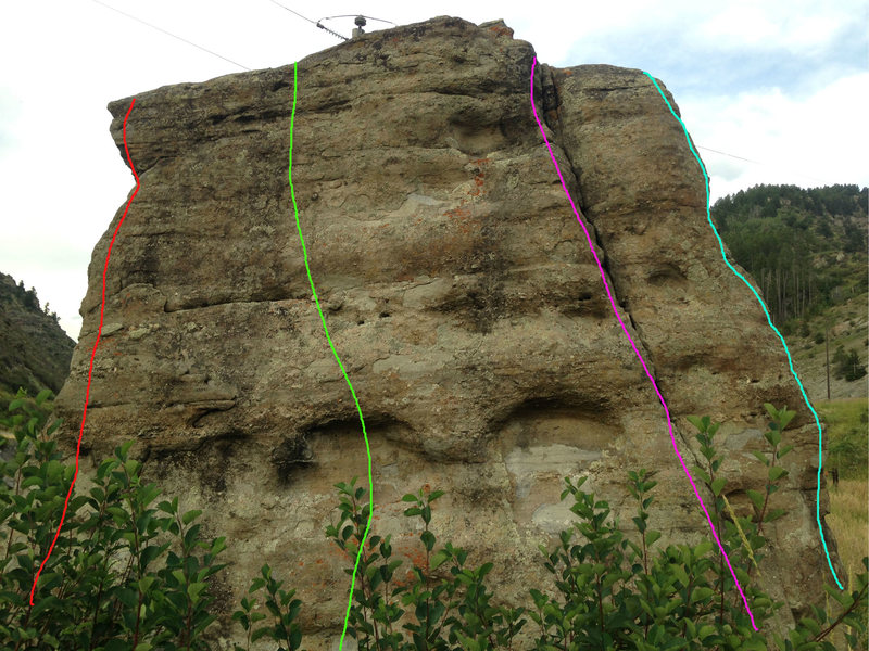 West face: the light blue line is my downclimb on the southwest corner, the purple route is likely the 5.8 crack, the green route is the Center Face, V1, and the red route is the Northwest Corner, V1.