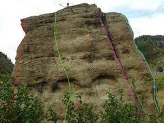Rock Climbing Photo: West face: the light blue line is my downclimb on ...