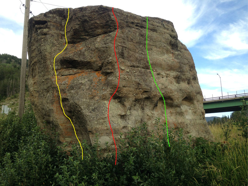 Northwest corner: the red route is the Northwest corner, V1, the green route is the Center West Face, V1, and the yellow route is the extremely high ball north face V2 crack.