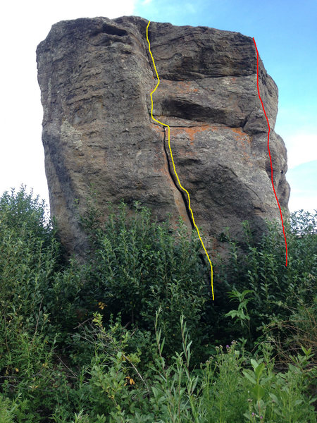 North face: the yellow route is the extremely highball crack, V2 (more like a free solo), and the red route is the Northwest Corner, V1.