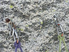 Rock Climbing Photo: This is the anchor at the base of P3 on 7/30/2015.