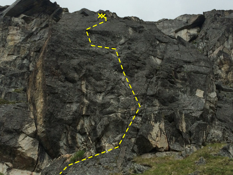 The Barnyard boulder with The Pig route shown.
