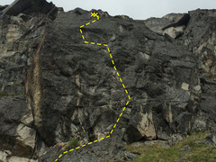 Rock Climbing Photo: The Barnyard boulder with The Pig route shown.