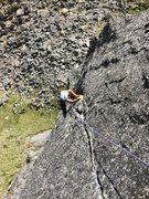 Rock Climbing Photo: Jess surmounting The Pig's flake-roof