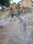 Rock Climbing Photo: A view of the climb from the ground. The first hig...