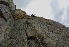 Rock Climbing Photo: 2nd pitch from belay. Quinn leading.