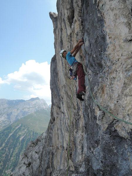 Rock Climbing Photo: Lisa climbing the first headwall pitch.