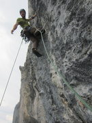 Rock Climbing Photo: Starting up the steep 7b crux of Süpervitamin.
