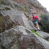 The 4th class traverse.<br> <br> Photo: Steve Nelson.