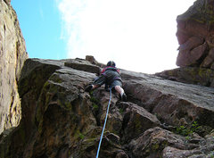 Rock Climbing Photo: Starting up the West Crack.  Photo: Steve Nelson.