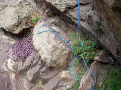 Rock Climbing Photo: Left over blue rope from the rappel. 60 meter rope...
