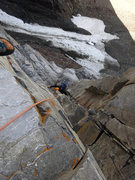Rock Climbing Photo: Looking down the steep cracks at the end of the se...