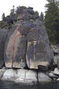 Rock Climbing Photo: Drain the Lake 10b (red) 10c (blue) 5.8 (green)